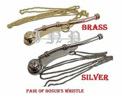 Brass New Pair Copper Boatswain Whistle Chain Bosun Call Pipe Maritime Nautical