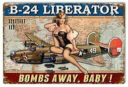 VINTAGE ANTIQUE Style Metal Sign B24 Liberator Pinup 12x18