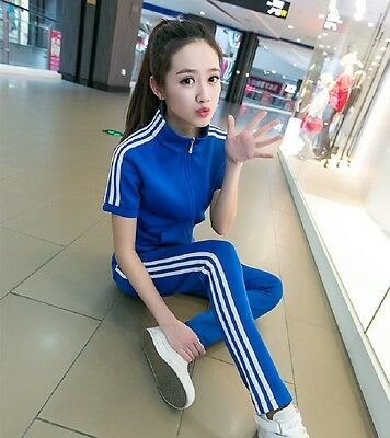 Girls Student Short Sleeve Sportswear Activewear Casual Zipper Tracksuit
