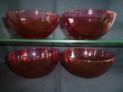 4 Quality Victorian Cranberry Glass Finger Bowls