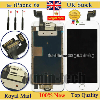 "White For iPhone 6s 4.7"" Screen Digitizer Replacement Touch LCD Home Button UK"