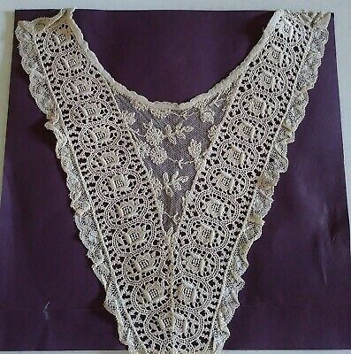 Antique Cotton HAND MADE Lace Collar CHILD or DOLL Lace Trim Old English ~ Ecru