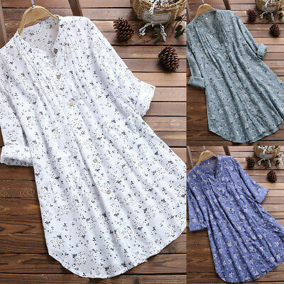 Women Ladies V-Neck Pleated Long Tops Blouses Casual Tunic Shirt Dresses Size 16
