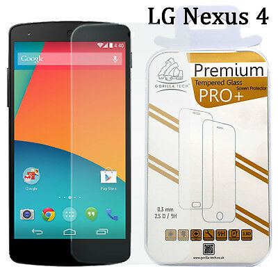 Tempered Glass Shield Film Screen Protector 100% Genuine Gorilla For LG Nexus 4
