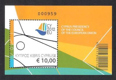 Cyprus 2012 Presidency Of The European Union Eu Council Rare Miniature Sheet Mnh