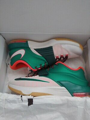 f5f5037decbe Nike KEVIN DURANT KD VII 7 EASY MONEY GREEN WHITE ORANGE 653996-330 SIZE 12