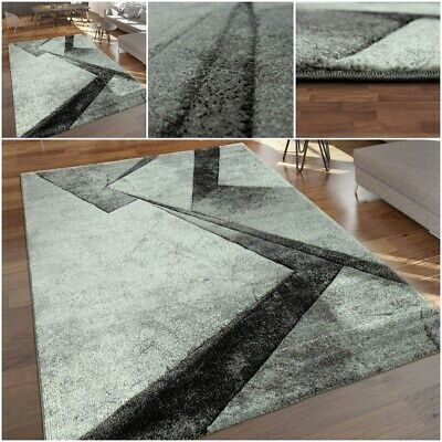 Marble Look Modern Carpet in Grey Tones 13mm Soft Pile Living Room Mat Thick Rug