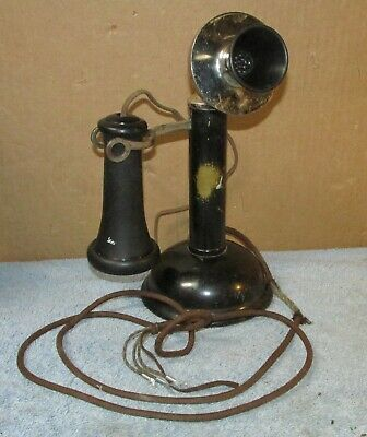 Vtg/Antique Unbranded Brass Oil Can Candlestick Telephone J0618