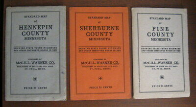 3 Vintage Pocket Maps of the State of Minnesota Hennepin Sherbourne County 1938
