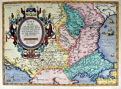 Romaniae - Ortelius 1584 Original Kupferkarte Map Romania Rumänien Black Sea