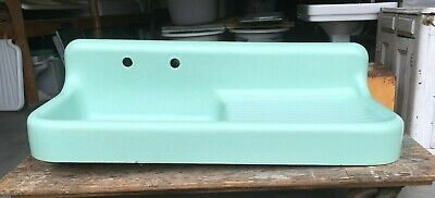 "Antique 53"" Cast Iron Jadeite Ming Green Porcelain Kitchen Farm Sink Vtg  56-19E"