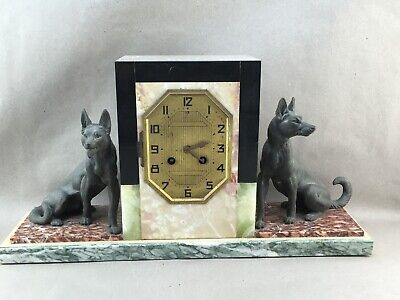 French Art Deco Marble Mantle Clock with German Shepherd Dogs