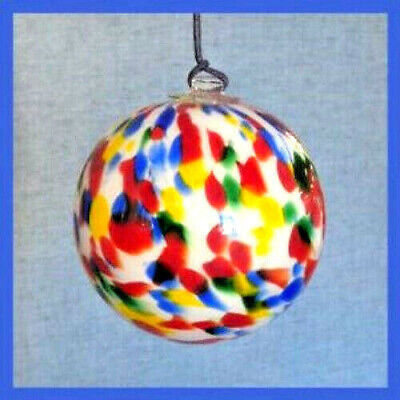 "Hanging Glass Ball 4"" Diameter White w/ Red, Yellow, Green & Blue Specks HB25-1"