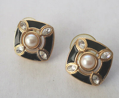 Unsigned Vintage Square Enamel Faux Pearl Crystal Gold Tone Posted Earrings MINT