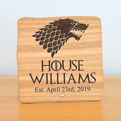 Personalised Game of Thrones Plaque - House Surname Sigil - Unique Gift Present