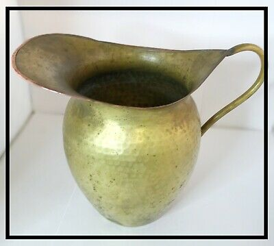 Early 20th Century Hand Hammered Brass Pitcher