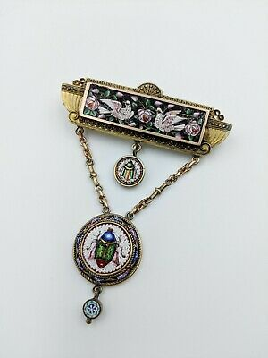 1800s Egyptian Revival Micro Mosaic Brooch Pin from Italy, Grand Tour Souvenir