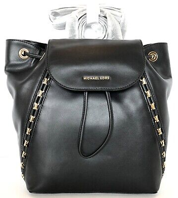b0e72c196062 NWT Michael Kors Sadie Medium Leather Drawstring Backpack Bag (Black)