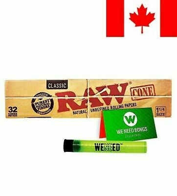 RAW Classic Natural Unrefined Pre-Rolled Paper Cones 32 Pack (1 1/4 Size). In...
