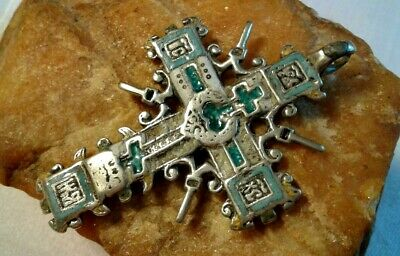 "ANTIQUE 18th CENT. LARGE RUSSIAN SILVER ""OLD BELIEVERS"" ORTHODOX CROSS w/ ENAMEL"