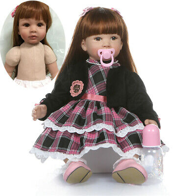 Real Baby 24in Doll Reborn Toddler Girl Realistic Soft Silicone Vinyl Long Hiar
