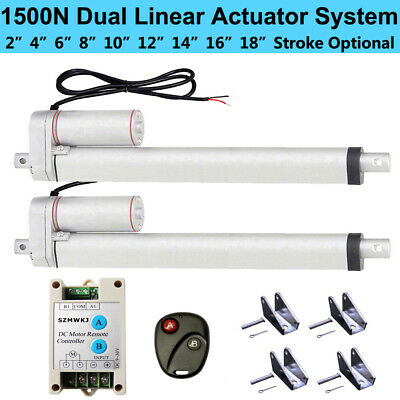 2 Dual Linear Actuator W/ Remote Controller 12V Electric Motor 1500N 330lbs Lift