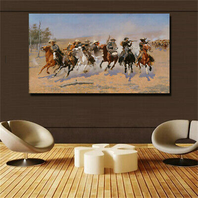 """Frederic S. Remington """"A Dash for the Timber"""" print on oil painting (31x54in)"""
