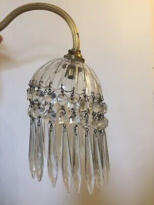 Single Vintage Brass / Crystal Drops Lobby Wall Light Used For Refurbishment.