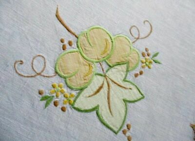Vintage Tablecloth Embroidered Fruit - Linen
