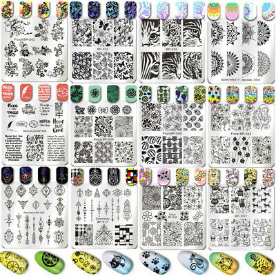 Nail Art Stamping Plates Image Stamp Templates Cats Flowers Summer BORN PRETTY