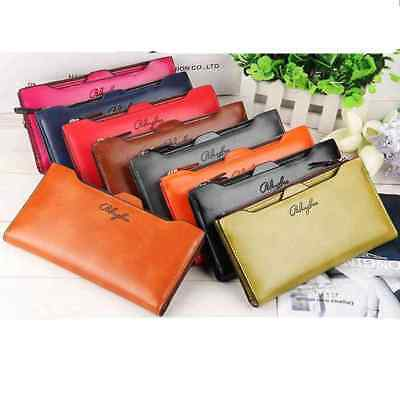 Women Leather Clutch Wallet Lady Long Zipper ID Card Holder Purse Handbag Slot
