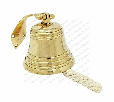 8in Brass Ship Bell Polished with Wall Mount Large Jumbo Bell Outdoor Hanging