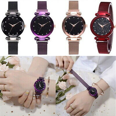 Starry Sky Watch Waterproof Magnet Strap Analog Crystal Quartz Stainless Steel