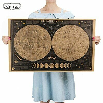 Vintage Retro Paper Earth Moon World Map Poster Wall Chart Home Decoration Wall