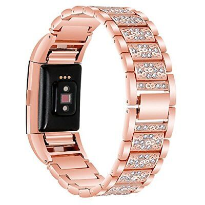 New For Fitbit Charge 3 Bands Bling Diamond Strap Stainless Watch Band Rose Gold