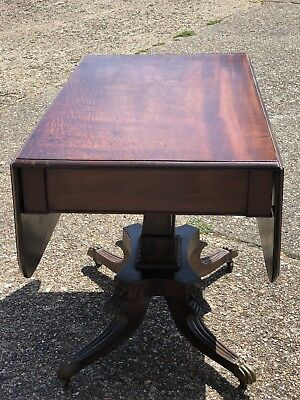 Antique Mahogany Pedestal Pembroke Table