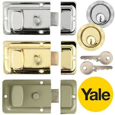 YALE NIGHT LATCHES Front Door Snib Catch Nightlatch Lock Key Chrome/Brass/Green