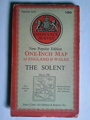 1947 The Solent Isle of Wight Ordnance Survey Map VGC 70cm x 81cm Frameable