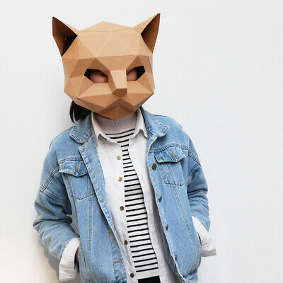 DIY PAPER MASK Animal Head Creative Party Pulp Costume Cosplay