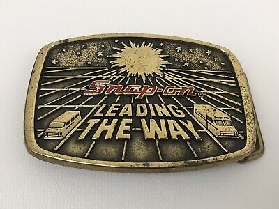 Snap On Tools Brass Belt Buckle Vintage 1988 LEADING THE WAY Limited Edition