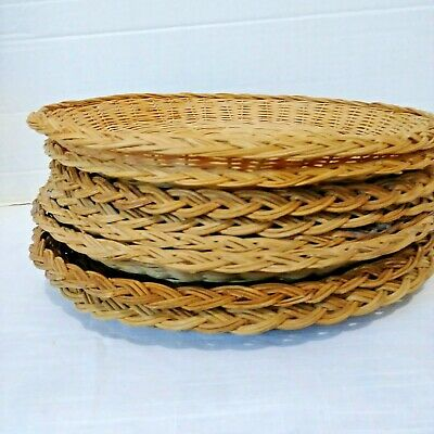 "Lot of 8 Random Wicker/Rattan/Bamboo 10"" /9.5"" Paper Plate Holders Set 2"