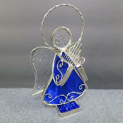 Stained Glass Angel with Harp Free Standing Silver Blue and Clear Sun Catcher