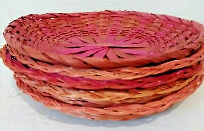"Lot of 5 Red Orange Random Wicker/Rattan/Bamboo 10"" /9.5"" Paper Plate Holders"
