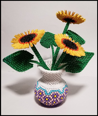 3D Origami - Beautiful Sunflower in a Gorgeous Vase Handmade