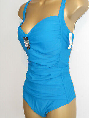 91e17de55170a Ladies Teal Marks & Spencer Ruched Buckle Swimsuit Size 22 New Control  Swimwear