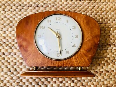 Vintage Smiths Wood Mantle Clock Working Made in Britain Wind Up Working