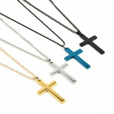 Stainless Steel Cross Link Chain Men Metal Gold/Silver Pendant Necklace Jewelry