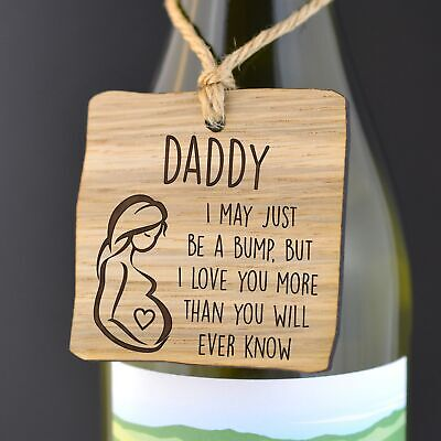 Fathers Day Gift From Unborn Baby Bump Pregnant Mother Wooden Gift Bottle Tag