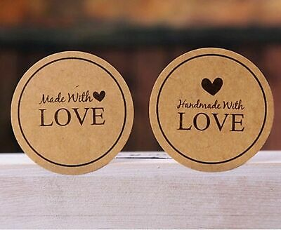 Round Paper Labels Handmade with love Made with Love Gift Food Kraft Stickers