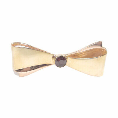 Art Deco 14k Gold Bow Brooch - Vintage Bow Pin with Deep Red Garnet Center
